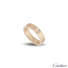 Cartier Rose Gold Half Diamond Love Ring Size 59 B4087500